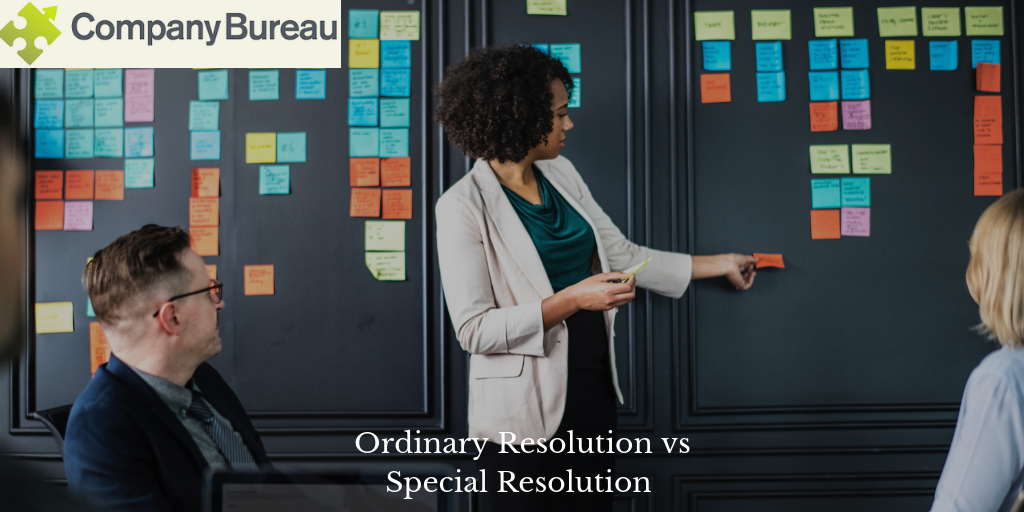 Company meeting decisions; ordinary resolution v special resolution